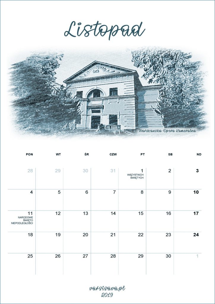 Kalendarz VarSavski listopad 2019