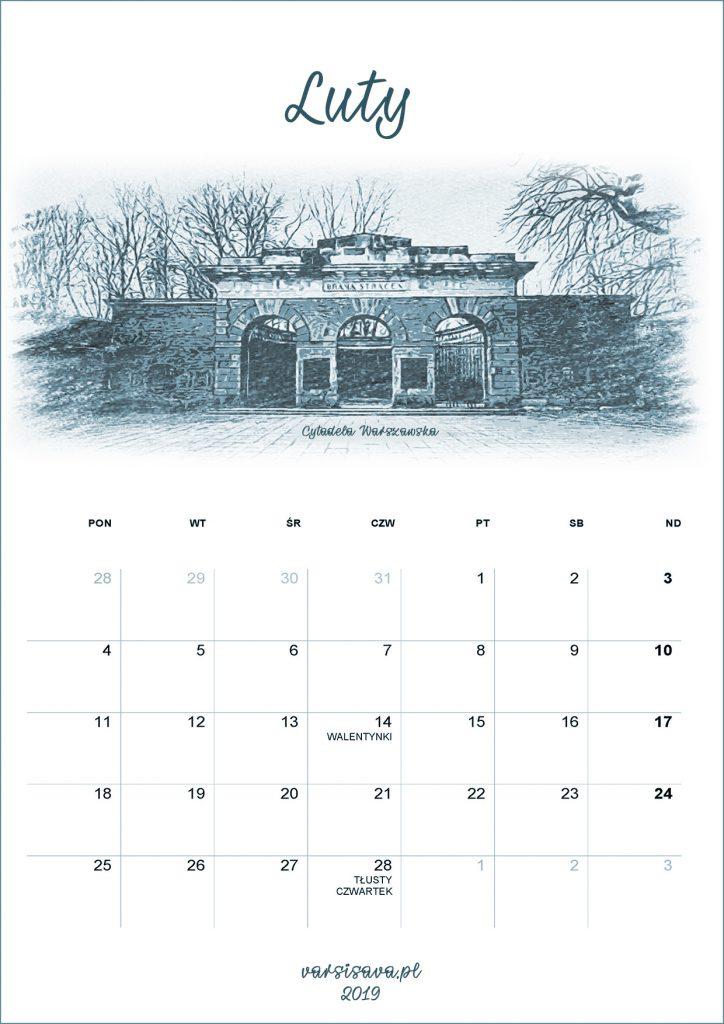 Kalendarz VarSavski Luty 2019