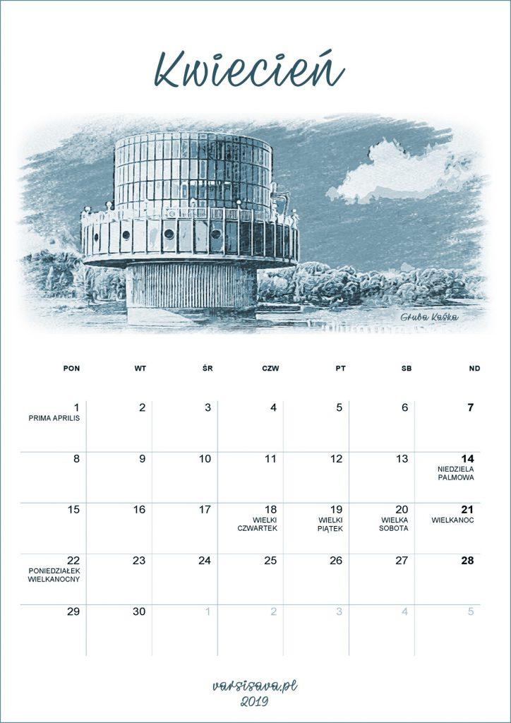 Kalendarz VarSavski kwiecień 2019