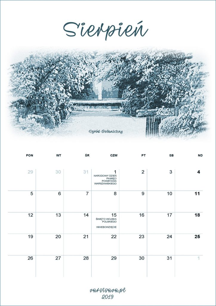 Kalendarz VarSavski sierpień 2019